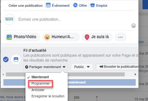 Outil Facebook de planification de publication.