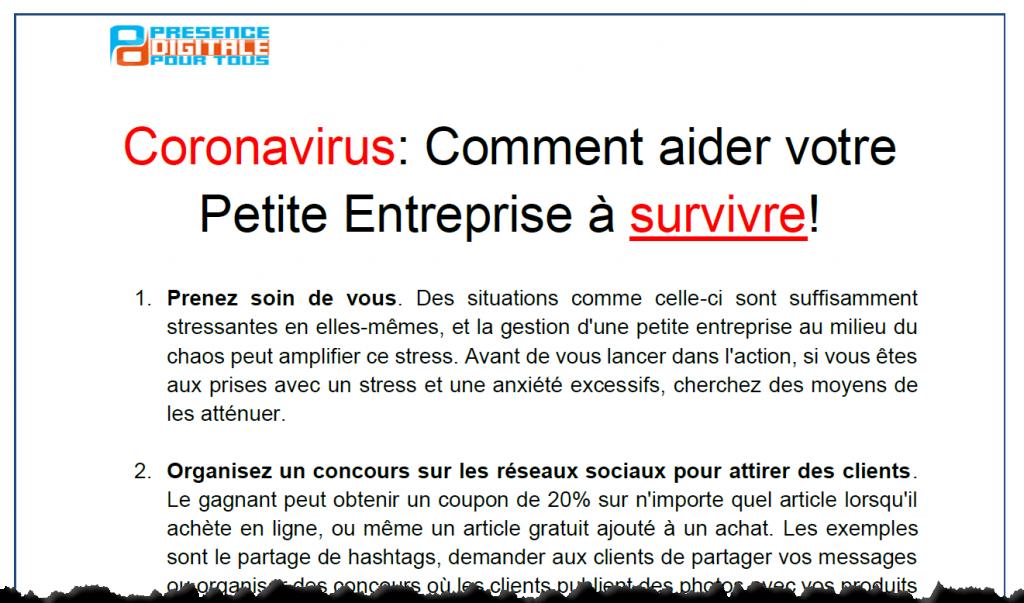 Coronavirus: Comment aider votre Petite Entreprise à survivre